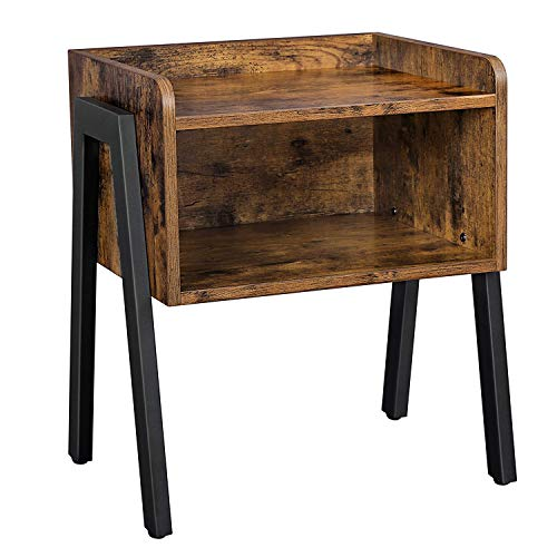 VASAGLE Side Table, Nightstand, Stackable End Table with Open Storage Compartment, Retro Rustic Chic, Industrial Accent Furniture with Steel Legs, Rustic Brown and Black LET54X