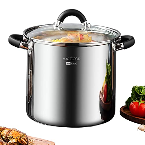 MAXCOOK Stainless Steel Stock Pot, 7.5 Quart Polished Heavy Cooking Pot with Lid, Good for Soup, Lobster, Stews.