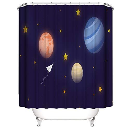 SLN Sternenklarer Himmel. Planet. Duschvorhang. 180 X 180 cm. 12 C-Förmige Haken. Einfach Zu Säubern. Wasserdicht. Nicht Verblassen. Haus Dekoration.