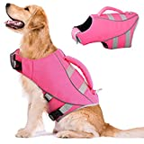 Kuoser Dog Life Jacket, Adjustable Dog Life Vest with Reflective Piping Ripstop Dog Lifesaver Pet Life Preserver with High Flotation for Small Medium and Large Dogs at The Pool, Beach,Boating