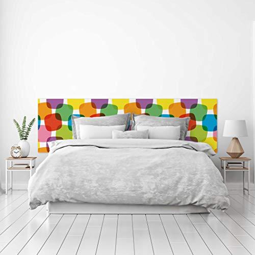 MEGADECOR Cabecero Cama PVC Decorativo Económico Diseño Puntos de Colores Superpuestos Varias Medidas (200 cm x 60 cm)