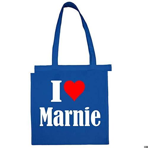 Tasche I Love Marnie Größe 38x42 Farbe Grau Druck Schwarz