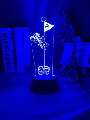 Lámpara de ilusión 3D Juego de luz nocturna LED Bandera de Super Mario Bros para la decoración del hogar Dormitorio de los niños Lámpara de mesa de asta de bandera de Mario Mesita de noche Regalos