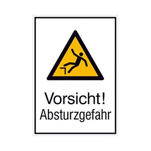 Schild Vorsicht! Absturzgefahr Kombizeichen/Warnung Größe: 13,1 x 18,5cm Alu