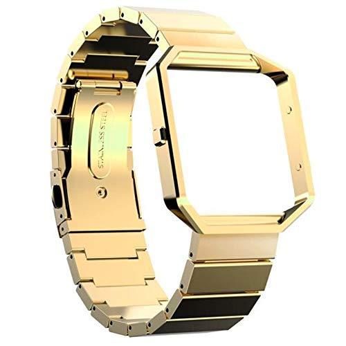 TNSYGSB Correa de Acero Inoxidable, Banda de Correa de Pulsera de Acero Inoxidable de Malla de Bucle con Bloqueo de imán para Fitbit Blaze Correa 22mm (Color : Gold)