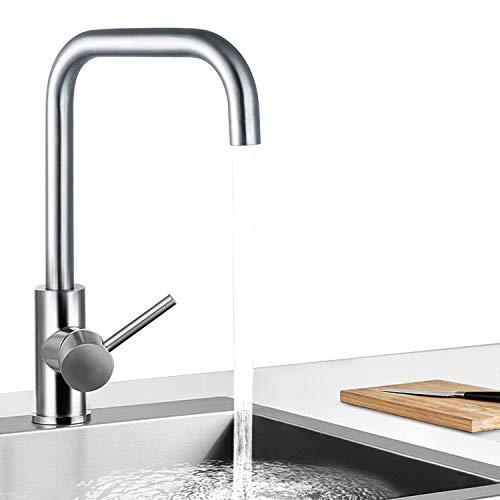 LAZAJ 2 Funciones Grifo De Cocina Caño Giratorio A 360° Cepillado Grifo Para Fregadero De Cocina Diseño Clásico Y Profesional Agua Fría Y Caliente