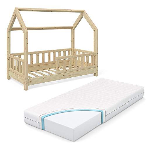 VitaliSpa Kinderbett Hausbett Wiki 70x140cm Natur Kinder Bett Holz Haus Schlafen Hausbett Spielbett Inkl. Lattenrost und Zaun Fallschutzgitter und Matratze