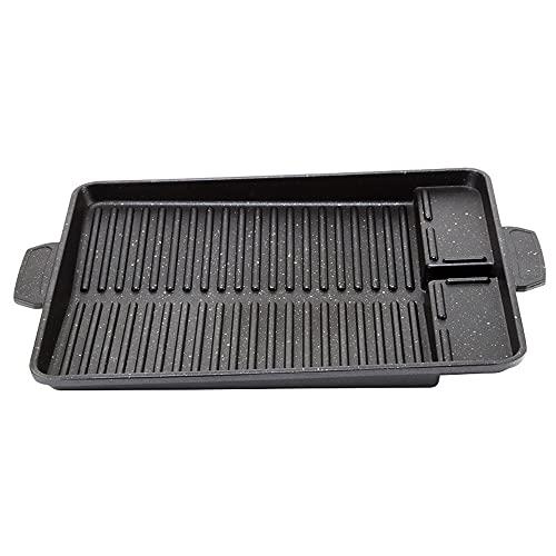 JJSPP Placa de barbacoa portátil Placa de pan para la placa de recubrimiento antiadherente de la placa de la estufa de la estufa de la estufa del rectángulo duradero de la placa de la barbacoa del rec