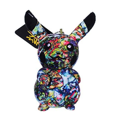 Plush Pokemo_n Keychain Anime Character Pikach_u Figure Bag Pendants Cartoon Colorful Graffiti Pikach_u Stuffed Doll Backpack Hanging Decoration Car Keyring Pendant Ornament Party Soft Doll Decor 5 In
