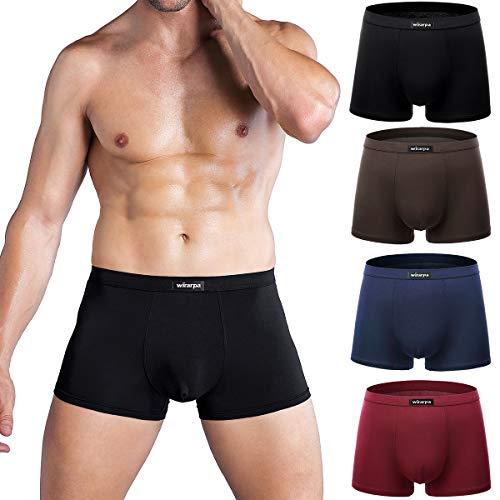wirarpa Unterhosen Herren Boxershorts Men Trunks Männer Microfaser Unterwäsche Retro Short 4er Pack Größe XL