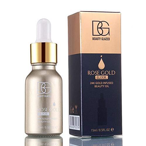 24k Oro Rosa Elixir Hidratante Influsado Belleza Aceite Maquillaje Fundación Esencia Aceite Antes de Imprimación Prolongar Maquillaje