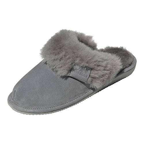 Hollert Damen Lammfell Hausschuhe Malibu GRAU Pantoffeln Wohlgefühl - warm, atmungsaktiv 100% Merino Schaffell Echtleder Schuhgröße EUR 41
