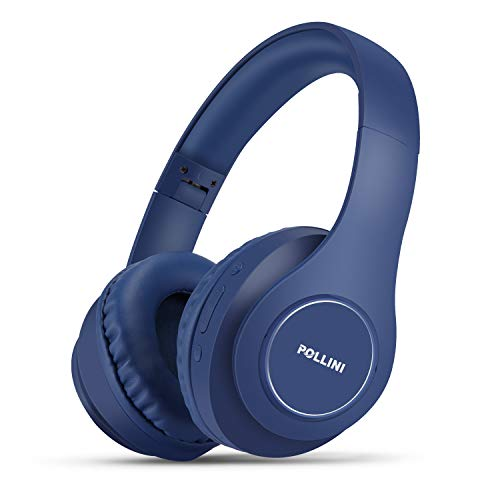 Bluetooth Headphones Over Ear, pollini Wireless Headset V5.0 with Deep Bass, Soft Memory-Protein Earmuffs and Built-in Mic for iPhone/Android Cell Phone/PC/TV (Blue)
