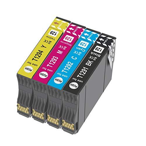 T1295 - Cartucho de tinta compatible con Epson T1292 T1293 T1294 con Epson WorkForc WF-3520 WF-7515 Stylus SX235W SX525WD SX535WD SX420W SX425W SX435W BX635FWD (4X)