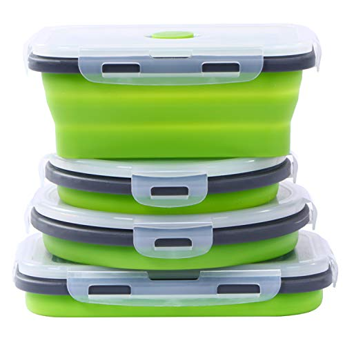 Collapsible Silicone Food Storage Containers with Airtight Lids, Set of 4 Bento Box for Kids Adults,Microwave and Freezer and Dishwasher Safe, with Vent Valve, BPA Free (Green, 500ml and 800ml)