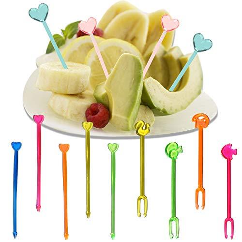 Dancepandas Tenedor Fruta Niños 400PCS Mini Palillos de Dientes Plastico Animal Tenedores Ensalada, Cada Sándwich, Aperitivo, Selección Cócteles