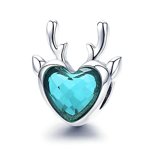 LIJIAN DIY 925 Sterling Jewelry Charm Beads Christmas Elk Heart Animal Make Original Pandora Collares Pulseras Y Tobilleras Regalos para Mujeres