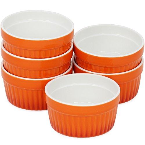 com-four® 6x Ragout Fin Schale - Ofenfeste Förmchen in orange - Creme Brulee Schälchen - Dessertschale mit je 185 ml