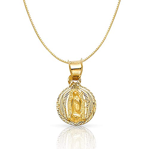 14K Yellow Gold Diamond Cut Our Lady of Guadalupe Stamp Religious Charm Pendant with 0.5mm Box Chain Necklace - 22