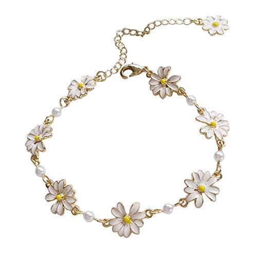 shangwang - Pulsera de perlas de metal para mujer, color blanco