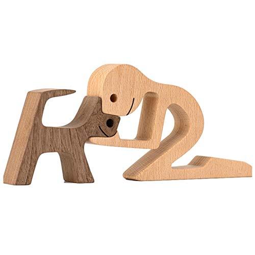 XIANLIAN Estatuilla De Madera De Perros, Perrito De La Familia Ornamentos De Talla De Madera, Artesanía, Decoración para Niños Ornamento DIY Arte Artesanal Proyecto