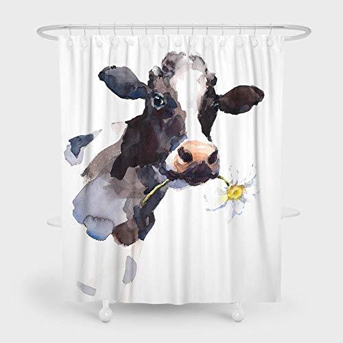 Duschvorhang Kühe Badewannen Duschvorhang 240X200 cm Aus Polyester Waschbarer Anti-Schimmel Anti-Bakteriell Mit 12 Duschvorhängeringen Für Eck Dusche Und Badewanne