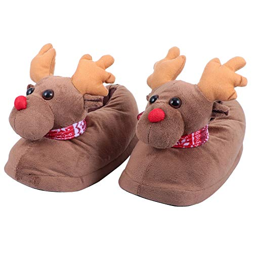 VALICLUD Christmas Fuzzy Slippers Reindeer House Shoes Memory Foam Animal Floor Slipper Boots Cozy Warm Fur Lining House Boots for Women Men Size 35-39 Light Brown