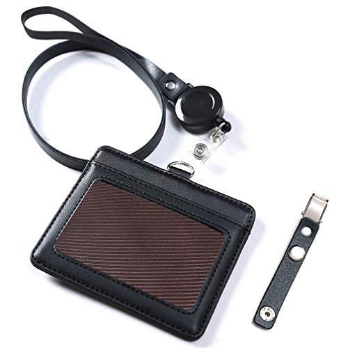Black Leather Badge Holder, Viaky Horizontal 2 Card Pockets Genuine Leather Name Tag ID Card Holders with Retractable Reel Neck Strap & Detachable Metal Clips