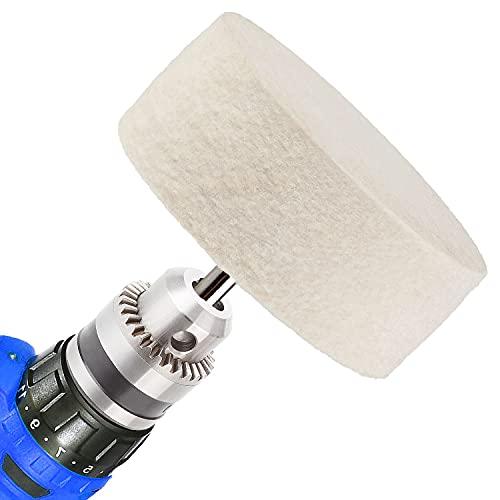 HOLAN 75 mm Felt Polishing Buffing Wheel, 3 inch Wool Polishing Wheel for use with Cerium Oxide Polishing Powder