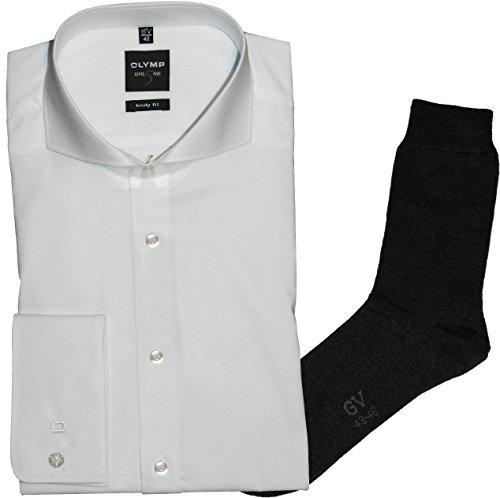 OLYMP Herrenhemd Level Five, Body fit, Haifisch, Umschlagmanschette, weiß + 1 Paar hochwertige Socken, B&le