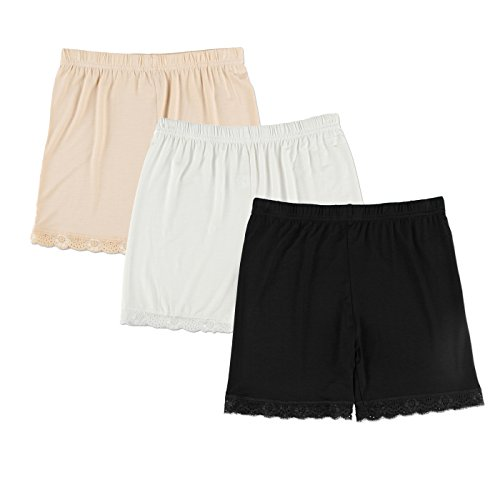 Liang Rou Spandex Mujeres Leggings Cortos 3-Pack Encaje Recorte M