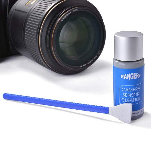 Rangers 12 pezzi APS-C pulizia del sensore a tampone e 0,5 ml soluzione più pulita senza alcool per la macchina fotografica DSLR CCD CMOS Digital, Lenti, occhiali, tessuto sterile privo di lanugine