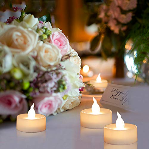 Advocator - Candele LED gialle a batteria, luce tremolante, 24 pezzi, per regali di nozze, portacandela votivo, scaldavivande elettrico 24pcs Warmes Weiß