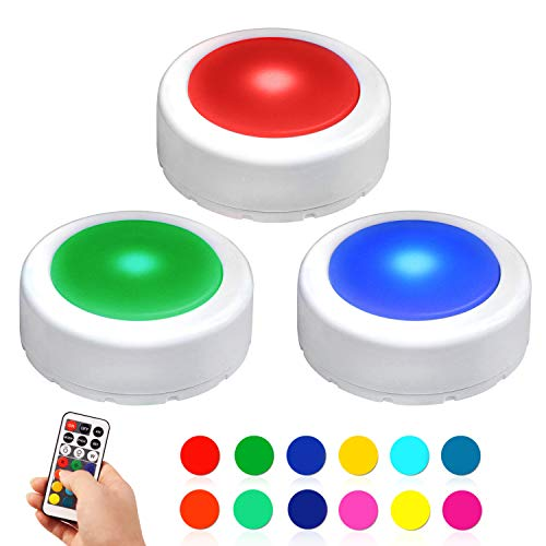 Novelty Place LED Puck Light with Remote Control - Wireless Under Cabinet Lighting - Battery Operated Dimmable Tap Lights -12 Color Changing Adhesive Sticky Night Light with Timer (3 Pack)