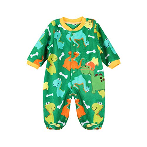Bebé Pelele Mameluco Pies Infantil Body Calentar Traje ReciéN Nacido Lana Manga Larga Mono Trajes (Dinosaurio Modelo 3-6 Meses)