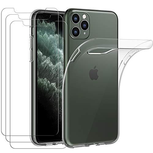 iVoler Custodia Cover per iPhone 11 PRO Max 6.5 Pollici + 3 Pezzi Pellicola Vetro Temperato, Ultra Sottile Morbido TPU Trasparente Silicone Antiurto Protettiva Case per iPhone 11 PRO Max