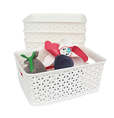 Honla Weaving Plastic Storage Baskets Bins Organizer with HandlesSet of 4White