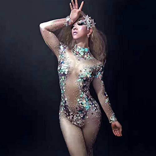 Eerjungfrau Pailletten Bodysuit Leggings Kristalle Overall Party Kostüm Bühne Aquarium Leistung Strass Stretch Strampler