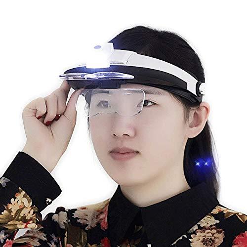 Wxxdlooa Head-Mounted glas voor oudere mensen lezen met ledverlichting elektronische klok onderhoud-identificatie.