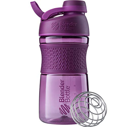BlenderBottle SportMixer Shaker Bottle Perfect for Protein Shakes and Pre Workout, 20-Ounce, Plum