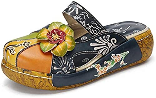 NIGHT WALL Duschsandalen RutschsandalenBaotou Slip Thick Sandals Couples Toe Print Sandalen, Blau, 37