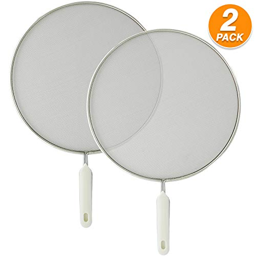 Ram-Pro Grease Splatter Screen for Frying Pan 10 inch Hot Oil Splash Splatter Guard for Cooking Stainless Steel Plastic Handle with Hanging Hole Fine Mesh Stops Stove Oil Guard Pack of 2