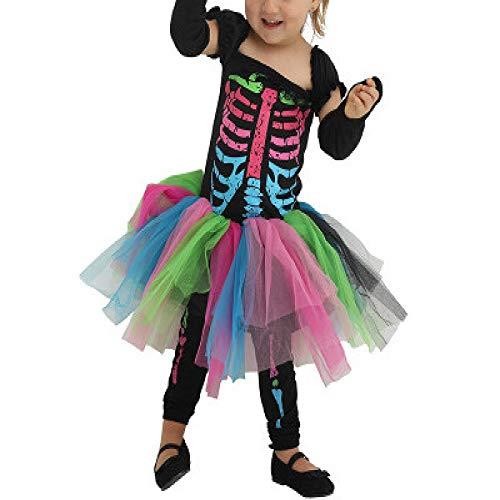DiscoUNTL - Falda corta para disfraz de esqueleto punk para nia de Halloween, Otoo-Invierno, vestido, Manga Larga, Mujer, color Color De La Imagen, tamao M
