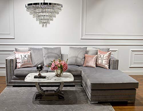 Divano angolare glamour con funzione letto grigio, NERO 250cm