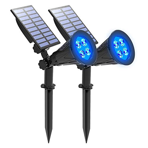 Blue Solar Spotlight, T-SUNUS IP65 Waterproof 4 LED Solar Lights, Auto-on/Off Security Landscape Light 180° Angle Adjustable Wall Light for Tree,Patio,Yard,Garden,Driveway,Pool Area (2 Pack)