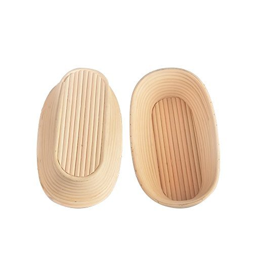 "Haneye 10"" Oval Proofing Basket 2 Pack with Liner, Bread Banneton for Baker,Rising Rattan Basket"