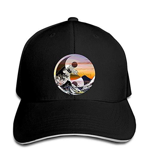 Fanxp Gorra de béisbol Hombres Divertidos Imprimir Hatbaseball Caps Snapbacks Black Kanagawa Great Wave Print Hat Ying Yang MT Fuji Arte japonés