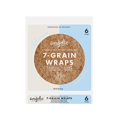 Angelic Bakehouse Reduced Sodium Wraps – 9 Ounce, Pack of 12 - Sprouted Whole Grain Tortillas – Vegan, Kosher and Non-GMO (72 Wraps)