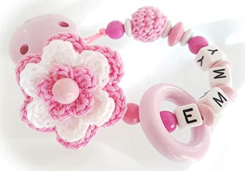 Baby Schnullerkette mit Namen - Blume, Mädchen, Wunschnamen, Taufe (Rosa Weiß)
