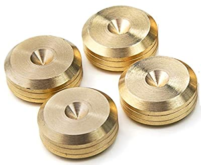 PrecisionGeek - Solid BRASS Speaker spike pads shoes feet 20mm DIA - Set of 4 pieces by MAAD Precision Engineering Ltd